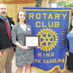 Kaitlyn Barham receives the King Rotary Club's Good Citizen Award