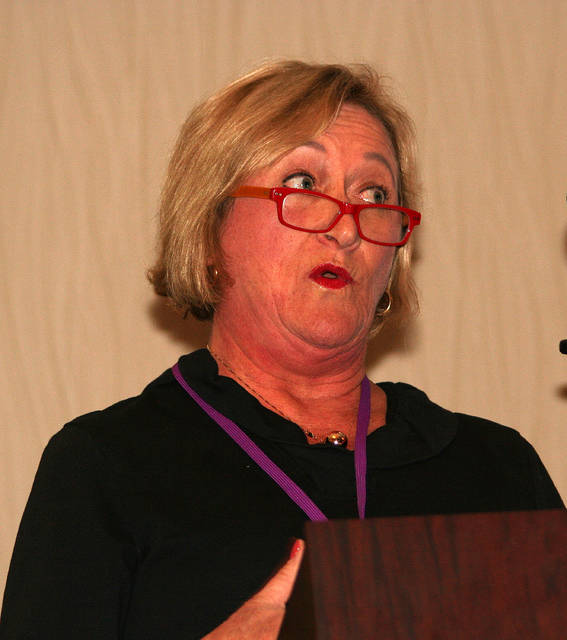 The organization's founder, Patti Moran of King, addresses a crowd of nearly 200 attendees at the Pet Sitters international educational conference last Saturday at the Marriott in Winston-Salem.
